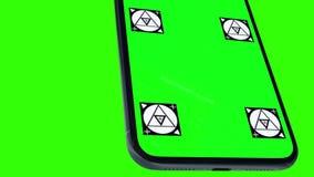 Изолированный умный телефон с зеленым экраном сток-видео