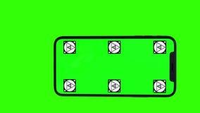 Изолированный умный телефон с зеленым экраном акции видеоматериалы
