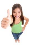изолированный успех thumbs вверх по женщине стоковое изображение