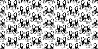 Изолированный шарф иллюстрации мультфильма косточки французского бульдога вектора картины собаки безшовный кроет обои черепицей п иллюстрация вектора