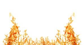 Изолировано на белой половине померанцовой рамки пожара Стоковые Изображения RF