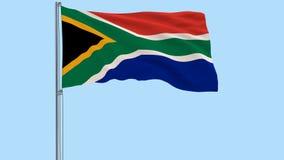 Изолируйте флаг Южно-Африканской Республики на флагштоке порхая в ветре на прозрачной предпосылке, 3d перевод, forma PNG иллюстрация вектора