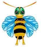 Изолируют пчелу насекомого шаржа на белой предпосылке Стоковые Изображения
