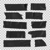 Изолируя слипчивая липкая черная лента, реалистический набор стиля бесплатная иллюстрация