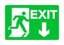 Изолят знака выхода аварийный зеленый на белой предпосылке, иллюстрации EPS вектора 10 иллюстрация штока