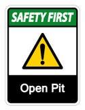 Изолят знака символа открытого карьера безопасность прежде всего на белой предпосылке, иллюстрации вектора иллюстрация штока