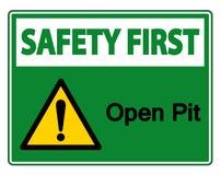 Изолят знака символа открытого карьера безопасность прежде всего на белой предпосылке, иллюстрации вектора бесплатная иллюстрация