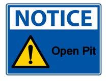 Изолят знака символа открытого карьера извещения на белой предпосылке, иллюстрации вектора иллюстрация штока