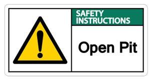 Изолят знака символа открытого карьера инструкций по безопасности на белой предпосылке, иллюстрации вектора иллюстрация штока