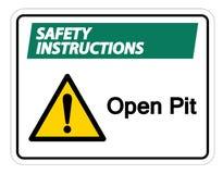 Изолят знака символа открытого карьера инструкций по безопасности на белой предпосылке, иллюстрации вектора иллюстрация вектора