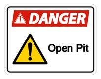 Изолят знака символа открытого карьера опасности на белой предпосылке, иллюстрации вектора иллюстрация штока
