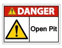 Изолят знака символа открытого карьера опасности на белой предпосылке, иллюстрации вектора иллюстрация вектора