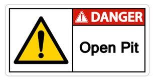 Изолят знака символа открытого карьера опасности на белой предпосылке, иллюстрации вектора бесплатная иллюстрация