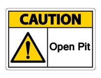 Изолят знака символа открытого карьера предосторежения на белой предпосылке, иллюстрации вектора иллюстрация штока