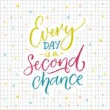 Изо дня в день второй шанс Мотивационная цитата о жизни Красочная литерность на sqared бумажной предпосылке иллюстрация вектора