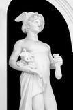 Изолированная белая статуя бога Hermes на черной предпосылке Стоковое Изображение RF