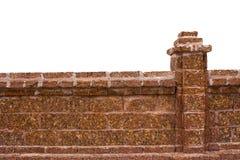 Изолированная белизна кирпичной стены Стоковые Изображения RF