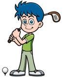 изолированная гольфом студия съемки игрока Стоковые Изображения