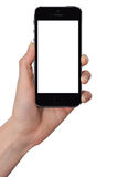 Изолированная женская рука держа умный телефон бесплатная иллюстрация