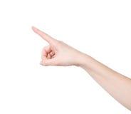 Изолированная женская рука касаясь или указывая стоковое фото rf