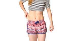 изолированная женщина веса торса измерения потери белая Стоковые Фото