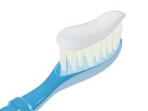 Изолированная зубная щетка с зубной пастой, 3D Иллюстрация штока