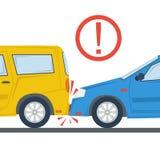 Изолированная иллюстрация автомобильной катастрофы плоская Стоковое Изображение RF