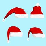 Изолированная иллюстрация вектора силуэта шляпы Санта Клауса красная Стоковые Изображения