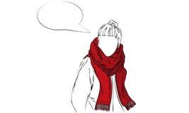 Изолированная иллюстрация вектора шарфа женщины нося сделанного по образцу красным цветом с пузырем речи Стоковая Фотография RF