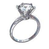 Изолированная иллюстрация кольца с бриллиантом Стоковая Фотография RF