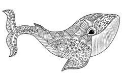 Изолированная иллюстрация с высокими деталями в стиле zentangle Стоковая Фотография