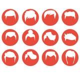 Изолированная квартира стиля причёсок людей установленная значками Стоковые Изображения