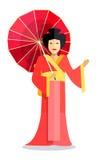 Изолированная китайская женщина с красным зонтиком в руке Стоковые Изображения RF