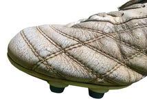 Изолированная кожа ботинка футбола старая Стоковое Фото