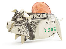 Изолированная копилка origami доллара Стоковое Фото
