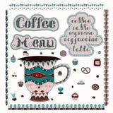 изолированная кофе белизна меню также вектор иллюстрации притяжки corel Стоковые Изображения