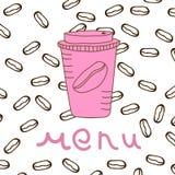 изолированная кофе белизна меню Стоковое Изображение