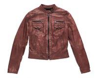Изолированная краснокоричневая кожаная куртка Стоковые Фото