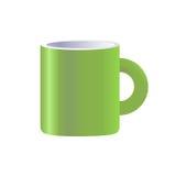 Изолированная кружка вектора зеленая керамическая Стоковые Фотографии RF