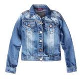 Изолированная куртка джинсовой ткани Джина женская стоковые фотографии rf