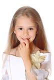 Изолированная маленькая девочка портрета милая Стоковая Фотография RF