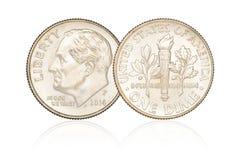 Изолированная монетка монета в 10 центов Стоковое Изображение RF