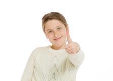 Изолированная модель thumbs вверх по успеху Стоковая Фотография