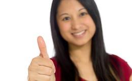 Изолированная модель thumbs вверх по успеху Стоковые Фото