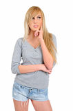 Изолированная молодая женщина стоковое фото