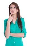 Изолированная молодая обдумывая женщина. стоковые фото