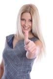 Изолированная молодая привлекательная успешная коммерсантка с thump вверх стоковые изображения