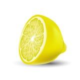 Изолированная покрашенная половина сочного желтого лимона цвета с тенью на белой предпосылке реалистическо бесплатная иллюстрация