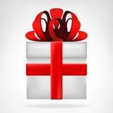 Изолированная подарочная коробка с красным вектором ленты Стоковое Изображение RF