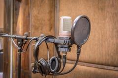 изолированная предпосылкой белизна студии микрофона Стоковые Фото